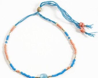 Miyuki and blue chalcedony bracelet