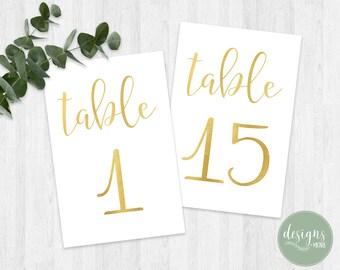 Printable Table Number 1-25 | Wedding Table Numbers | Digital Wedding Table Number | Gold Table Numbers | Instant Download