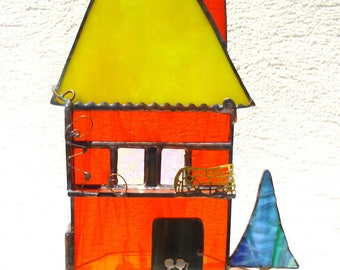 """The happy House in the village """"Zoubib"""" stained glass Tiffany."""