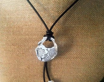 Happy pendant - Pendant Boho - necklace boho - necklace silver