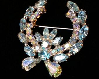 Signed Weiss - Light Blue Crystal/Rhinestone Wreath - Brooch
