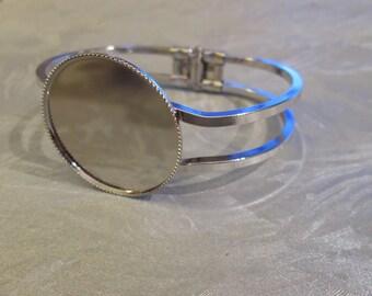 5 supports cabochon 30 mm matte silver Bracelet