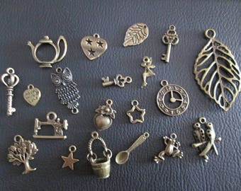 set of 20 charms brass set # A