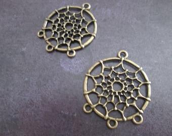 2 support of stud earrings / bronze metal dream catcher pendants