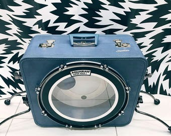 "Blue Monarch CaseBass Suitcase Bass Drum with chrome and nickel hardware and navy stained 16"" shell"