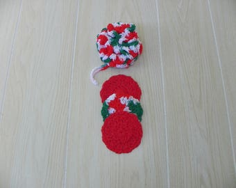Loofah and Facial Scrubbies in Christmas colors