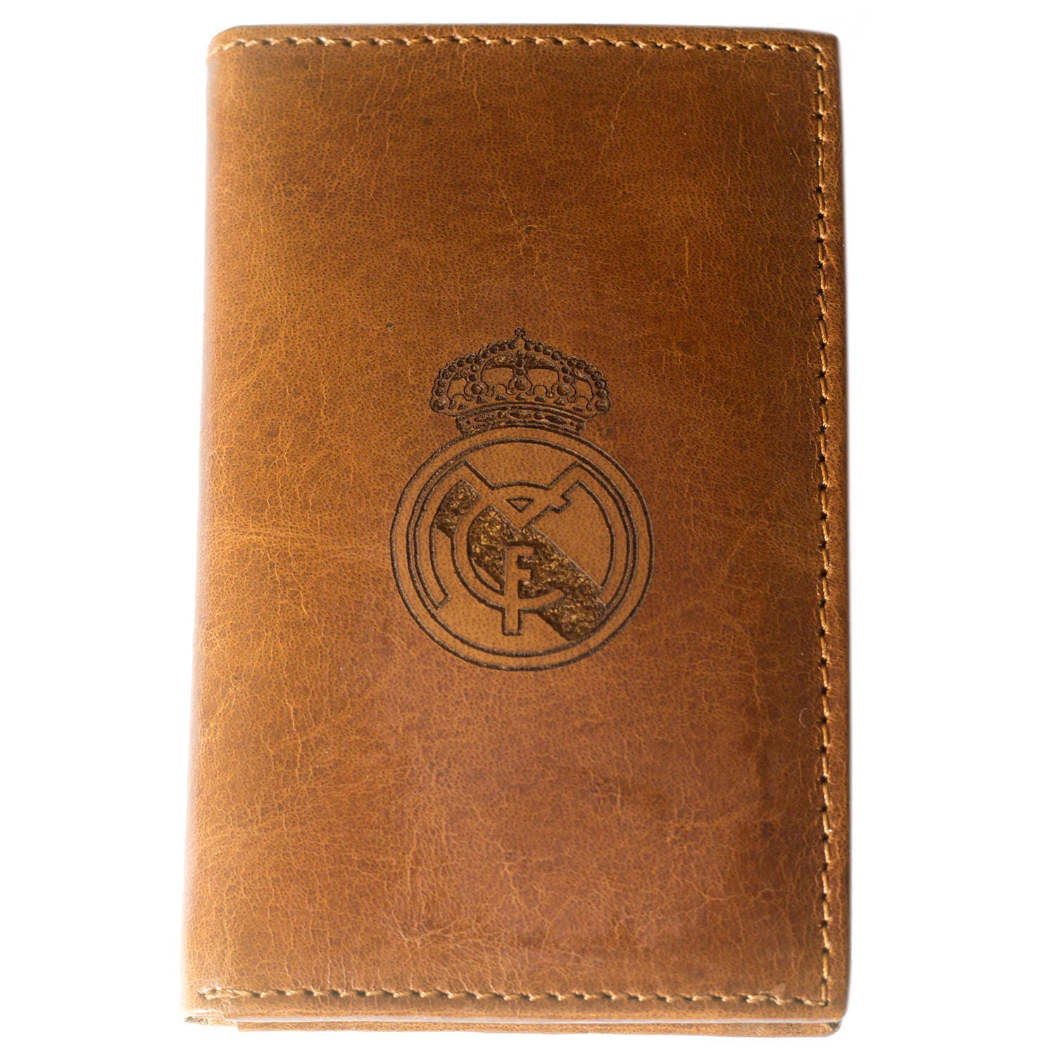 real madrid f c logo real leather wallet credit id personal