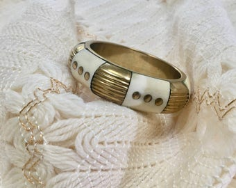 Vintage Bangle / Thick Gold & Ivory Vintage Bangle / Costume Jewelry Bangle
