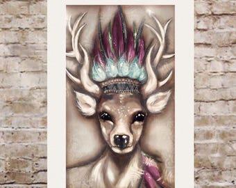 Head dress deer painting.900mm-600mm