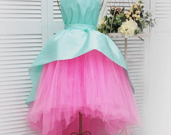 Mint girls tutu dress with train Mint and pink flower girl train dress Super full skirt dress for girl birthday dress Princess dress
