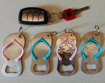 Flip flop bottle opener key chain | Party favor | Beach wedding favor | Bridal shower gift | Turquoise | Pink | Star fish