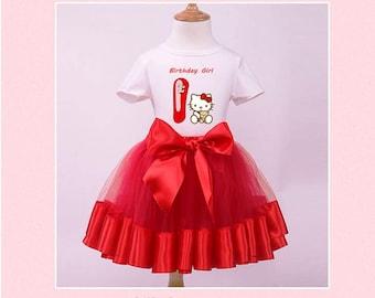 Personalize birthday Hello Kitty costume Tutu Dress, Toddler Dress, Birthday Party