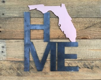 Home with State of Florida Metal Sign