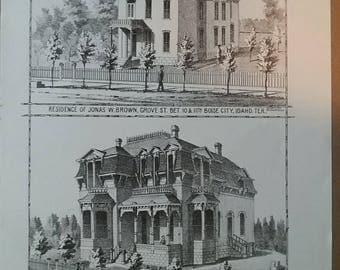 Residence of Jonas W. Brown and H. E. Prickett. 1884 Lithograph