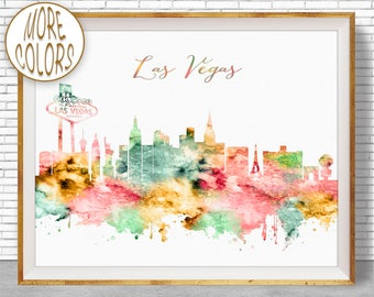 Las Vegas Print Las Vegas Art Las Vegas Skyline Las Vegas Nevada Office Prints Watercolor Skyline Watercolor City Print ArtPrintZone
