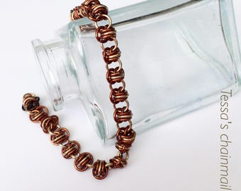 Chainmaille bracelet, bronze bracelet, barrel in bronze, earth bracelet, brown bracelet, natural bracelet, Tessa's chainmail