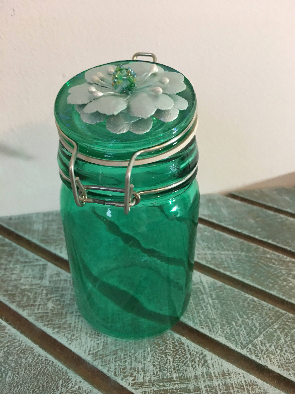 GREEN GLASS Flower Top Mason Jar Cute Stash Jar Kitchen Storage Jar Trinket Jar  Glass Jar Cute Storage Idea Home And Living Organization Co