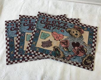 Set of three vintage BOYDS BEARS bailey placemat/ Tapestry