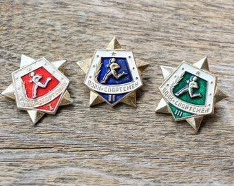 Hat pin vintage Military patches Warrior pin Hat badge Athlete gift Army pin for backpack Russian army gifts Set of 3 pin USSR collectible