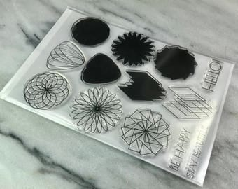 Used Altenew Clear Geometric Flowers Stamp Set DeStash