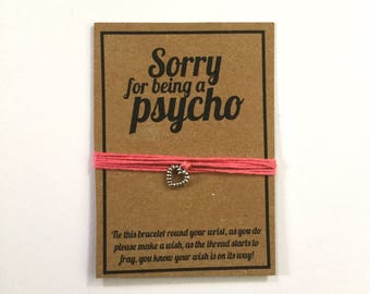 Sorry for being a psycho wish charm bracelet