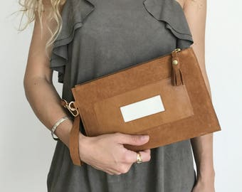 Puzzle. Camel Leather Clutch. Camel Leather Pouch. Camel Lether Bag. Brown Leather Clutch. Suede Clutch. Minimal Clutch. Wristlet