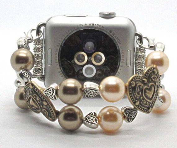 Apple Watch Band, Women Bead Bracelet Watch Band, iWatch Strap, Apple Watch 38mm, 42mm, Gold Metal Hearts Peach/Bronze Swarovski Pearls 6""