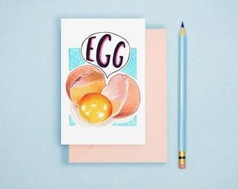 Egg Illustration Print - Kitchen Decor, Food Illustration, Food Art Print, Kitchen Wall Art, Postcard Print, Foodie Gift