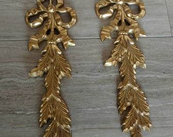 Decorative Brass Wall Hangings / Brass Garland With Ribbon / Vintage Brass / Brass Home / Pair Wall Hangings / Brass / Vintage Brass