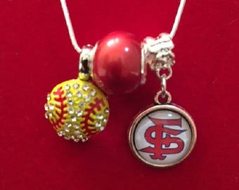 Fresno State Softball Crystal Necklace with Red & White Charms