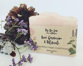 Rose Geranium & Patchouli | Vegan Soap - Handcrafted Soap - Cold Process Soap - Natural Soap