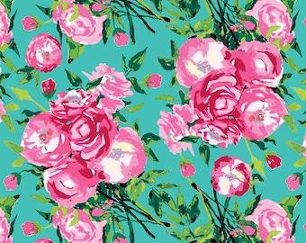 Riley Blake - Berkshire Garden - Berkshire Main Aqua by Lila Tueller - 100% Cotton - 14 Yards Continuous Available