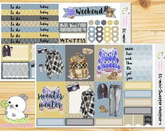 Sweater Weather/ Fall  Mini Weekly Kit /Planner Stickers for use with Erin Condren Vertical Life Planner/ CLASSIC Happy Planner