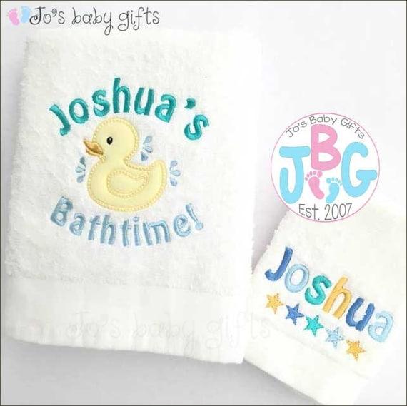 Personalised Baby Duck Flannel & Towel Set, Baby Bath Towel, Embroidered Towel, bath towel, flannel
