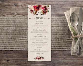 Rustic Wedding Menu Template, Printable Wedding Menu, Wedding Menu Card, Menu Printable, Rustic Menu, Wedding Menu Printable, Dinner Menu