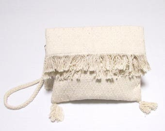 Swaraj Bag geometric pattern shoulder bag - OFF casual WHITE hand woven jacquard 2WAY