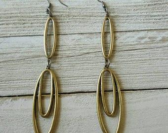 Long Rustic Brass Earrings, Oval Earrings, Tribal Modern Look, Bold Earrings  Bold Statement Earrings, Womens Jewelry