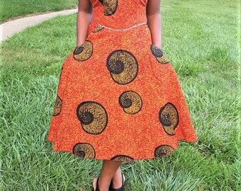 Shell pattern ankara dress