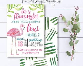 Let's Flamingle Invitation, Flamingo Invitation, Flamingo Birthday Invite, Flamingo Birthday, Summer Birthday Invitation, Party Invitation