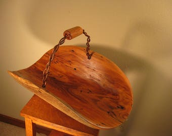 Hand Carved Reclaimed Honey Locust Gathering Basket With Copper Handle