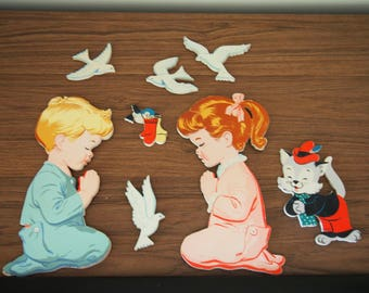 "Dolly Toy Co. Wall Hangings ""Now I lay me down to sleep"" vintage 60s nursery childrens"