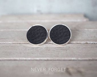 "Stud earrings ""Black leather""-16 mm/pair"
