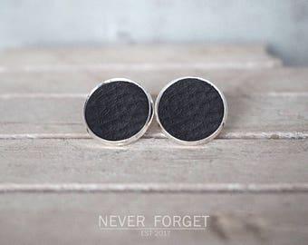 """Stud earrings """"Black leather""""-16 mm/pair"""
