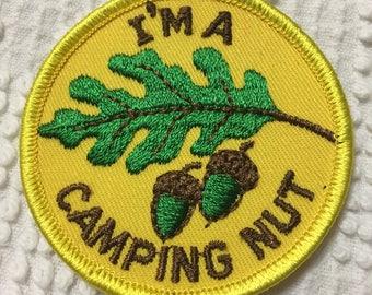 I'M a CAMPING NUT Acorn Oak Leaf detailed Patch Mint Exc Item