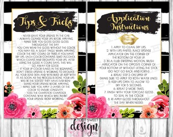 LipSense Tips and Tricks Card, LipSense Application Instructions Flyer, 4x6 / 5x7, SeneGence Floral Black White Stripe, INSTANT DOWNLOAD