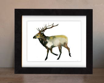elk art print, elk artwork, elk gift idea, elk art, elk wall art, elk painting, elk artwork, wildlife art, art print, saltwatercolors