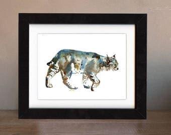 bobcat artwork, bobcat art print, bobcat gift idea, bobcat art, bobcat wall art, bobcat nursery, wildlife art, art print, saltwatercolors