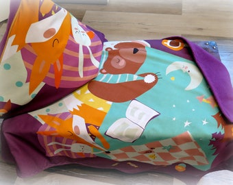 Cuddly blanket, bedspread, blanket with pillow cover purple sleep dreams