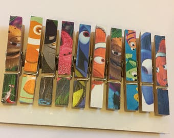 Disney Finding Nemo Wooden Peg Magnets Birthday Wedding Placecard Holders Favours Set of 10 Notes Memos