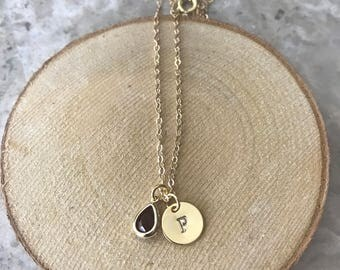 Initial Charm goldfilled chain necklace